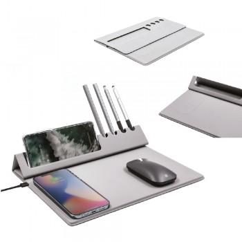 Telefon Standı ve Kalemlikli Wireless Şarjlı Mousepad