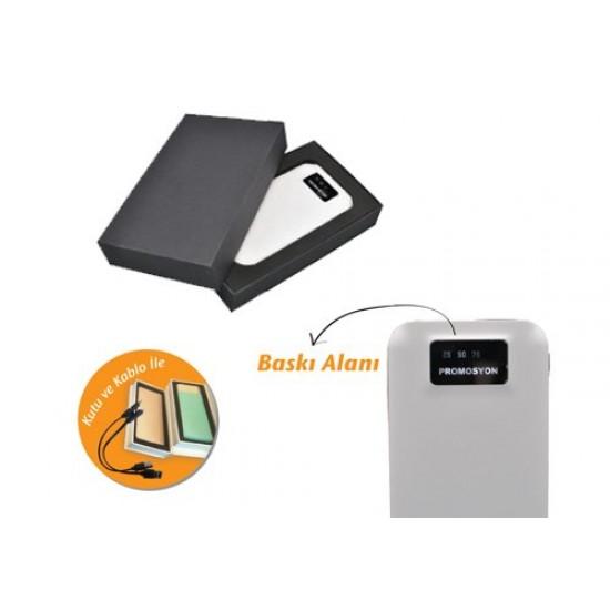 5000 mAh Işıklı Logo Basılabilen LCD Powerbank TOPTAN