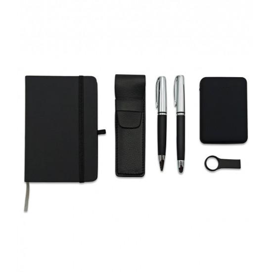 5000 mah Powerbankli Çift Kalemli Ajandalı USB li Set